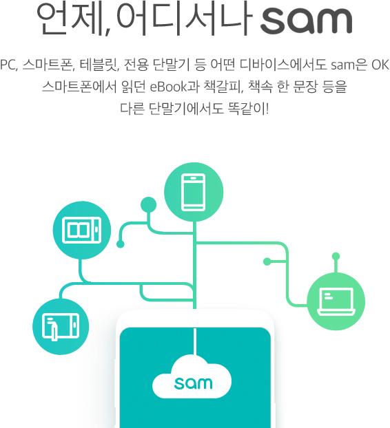 언제,어디서나 sam PC, 스마트폰, 테블릿, 전용 단말기 등 어떤 디바이스에서도 sam은 OK 스마트폰에서 읽던 eBook과 책갈피, 책속 한 문장 등을 다른 단말기에서도 똑같이!