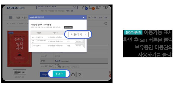 이용가능 표시 확인 후 sam버튼을 클릭 보유중인 이용권의 사용하기를 클릭!
