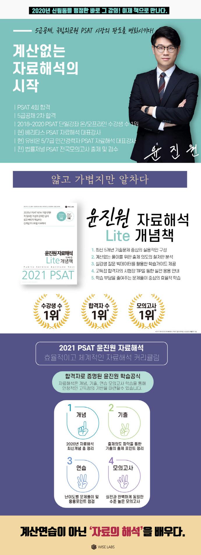 PSAT 윤진원 자료해석 Lite 가벼운 개념책(2021) 도서 상세이미지