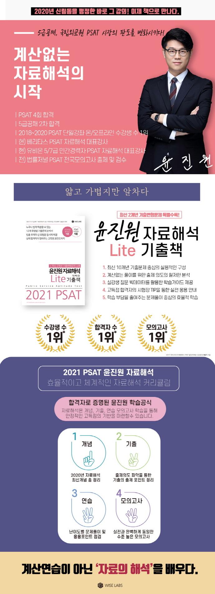 PSAT 윤진원 자료해석 Lite 가벼운 기출책(2021) 도서 상세이미지