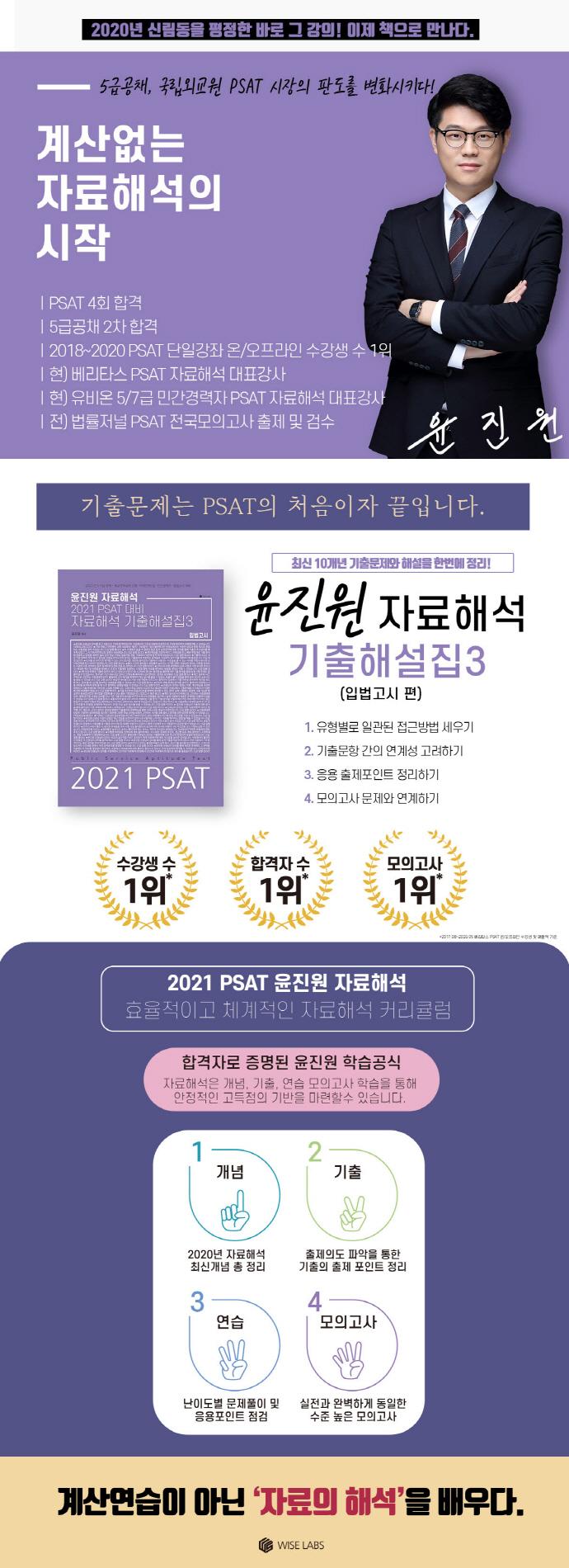 윤진원 자료해석 PSAT 대비 기출해설집. 3: 입법고시(2021) 도서 상세이미지