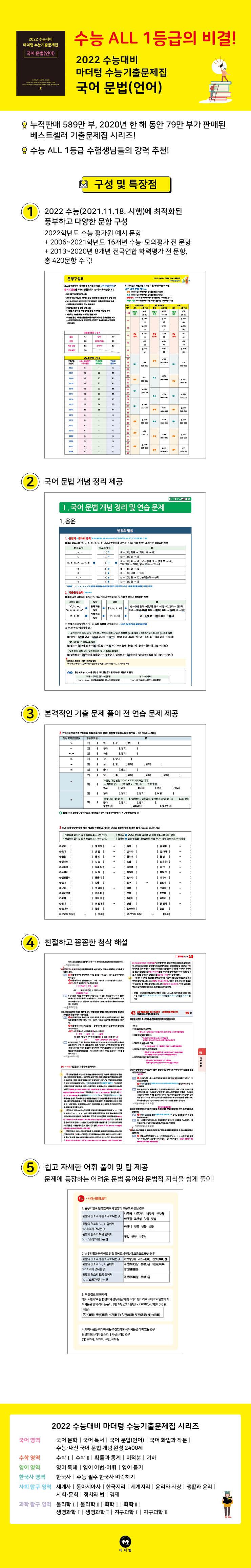 고등 국어 문법(언어) 수능기출문제집(2021)(2022 수능대비)(마더텅) 도서 상세이미지