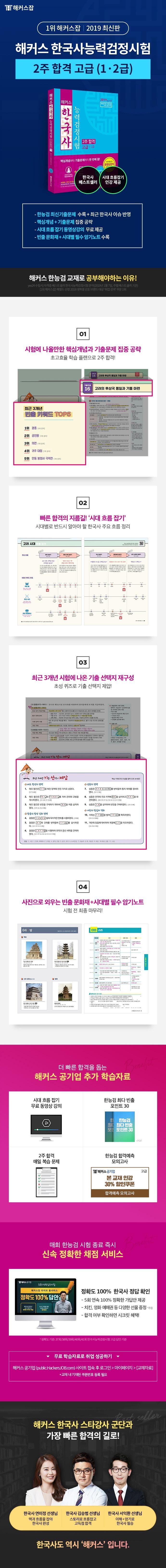 한국사 능력검정시험 2주 합격: 고급 1. 2급(2019)(해커스) 도서 상세이미지
