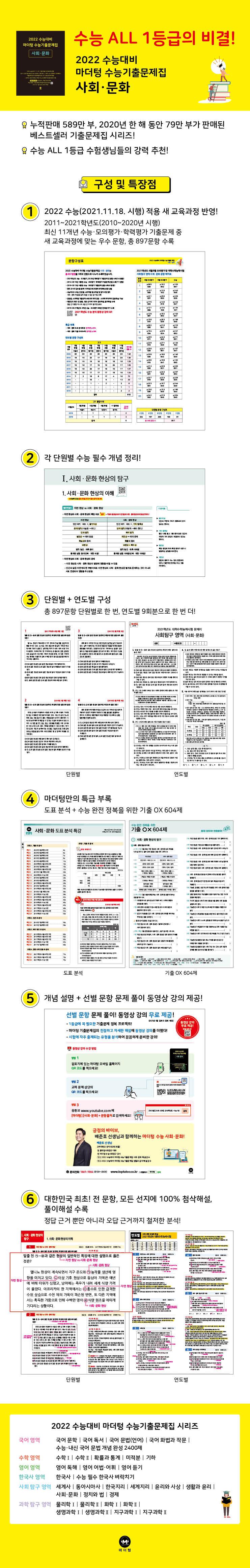 고등 사회 문화 수능기출문제집(2021)(2022 수능대비)(마더텅) 도서 상세이미지
