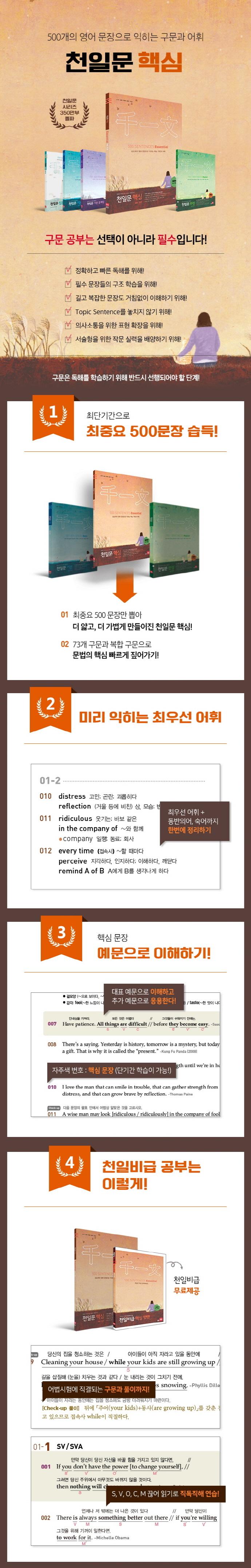 천일문 핵심 이센셜 ver.2.0: 500 Sentences Essential 도서 상세이미지