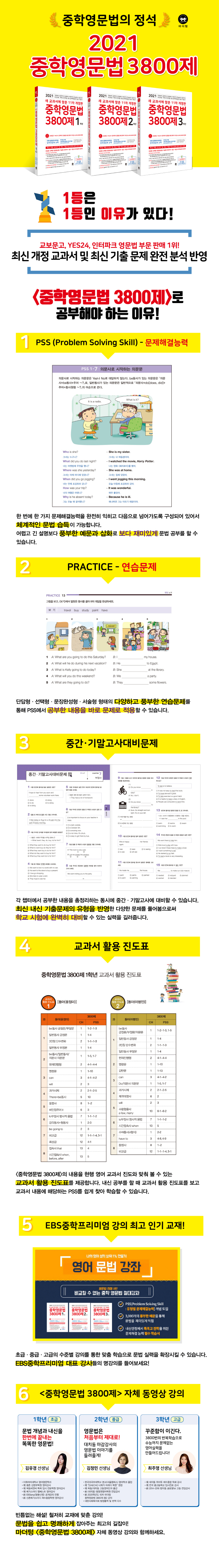 중학영문법 3800제 2학년(2021)(새 교과서에 맞춘)(개정판 11판) 도서 상세이미지