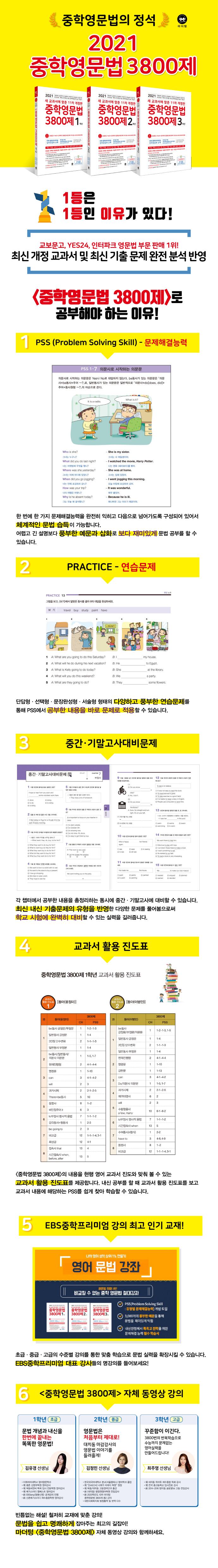 중학영문법 3800제 3학년(2021)(새 교과서에 맞춘)(개정판 11판) 도서 상세이미지