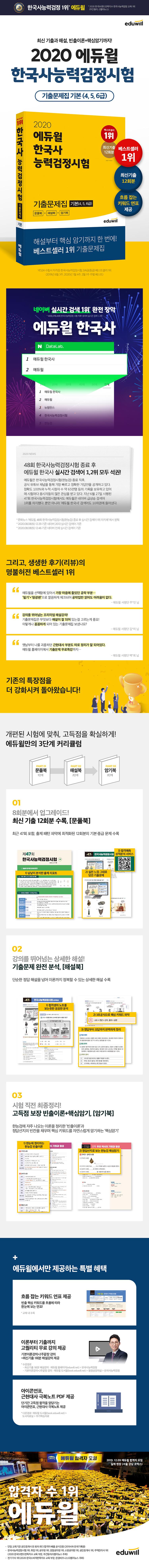 한국사능력검정시험 기출문제집 기본(4,5,6급)(2020)(에듀윌) 도서 상세이미지