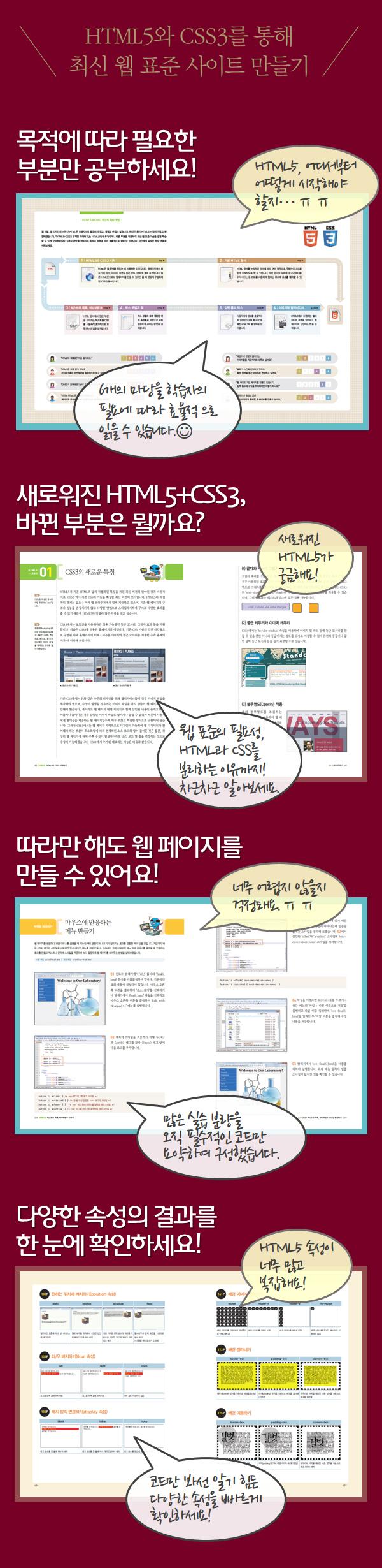 HTML5 CSS3 무작정 따라하기(따라만 해도 완성되는 웹사이트를 위한)(CD1장포함) 도서 상세이미지