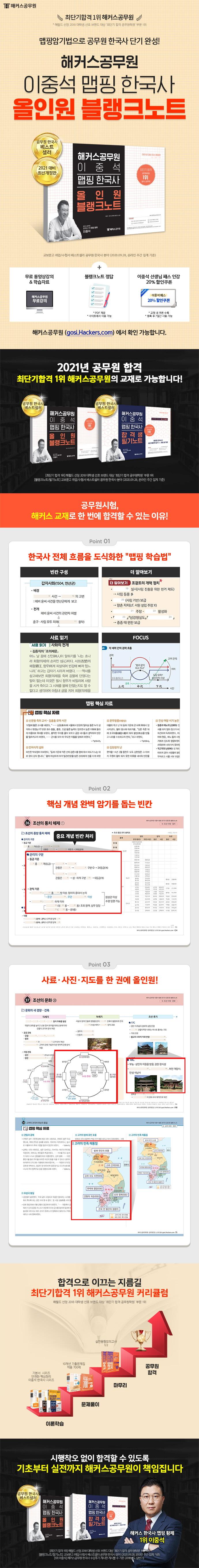 이중석 맵핑 한국사 올인원 블랭크노트(2021)(해커스공무원) 도서 상세이미지