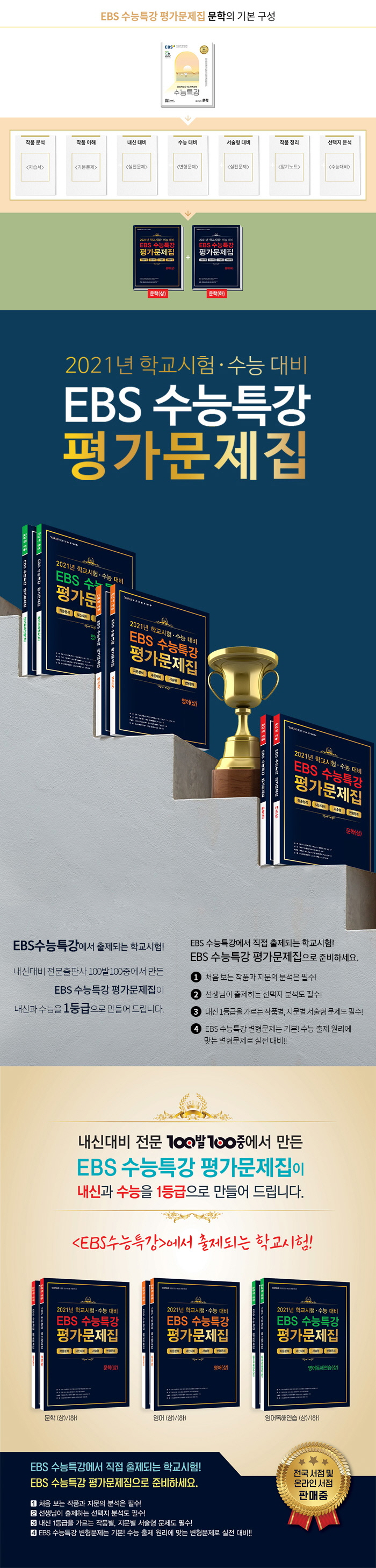 고등 문학(상) EBS 수능특강 평가문제집(2021)(2022 수능대비)(백발백중) 도서 상세이미지