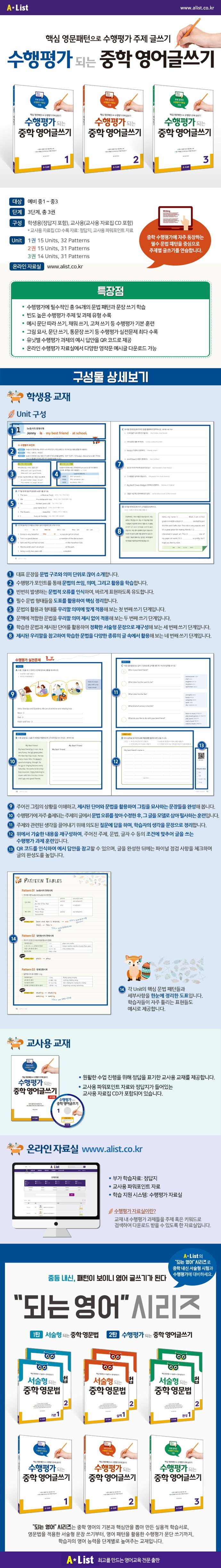 수행평가 되는 중학 영어글쓰기. 1(교사용)(CD1장포함) 도서 상세이미지