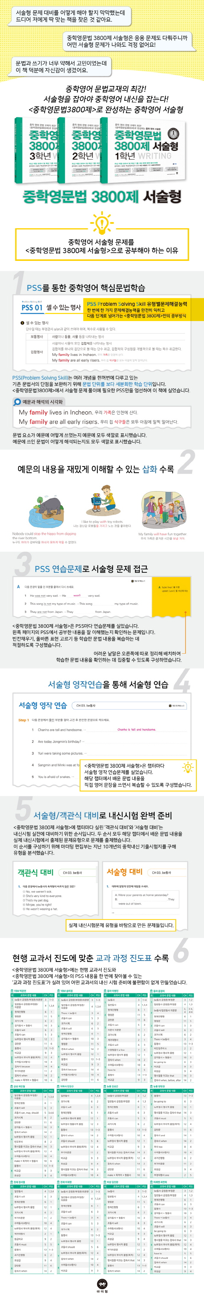 중학영문법 3800제 서술형 1학년 Writing 도서 상세이미지