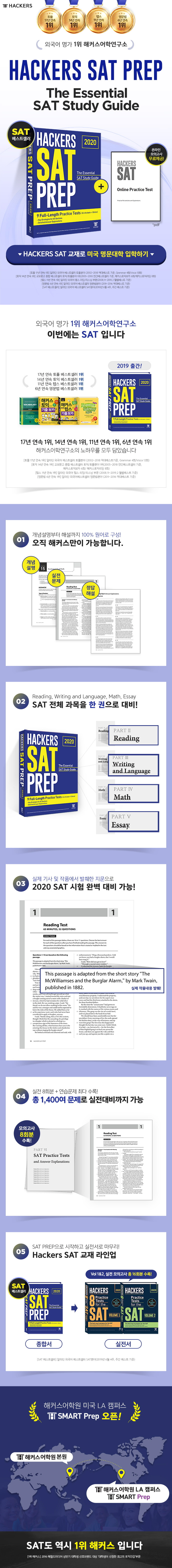 HACKERS SAT PREP: The Essential SAT Study Guide(2021) 도서 상세이미지