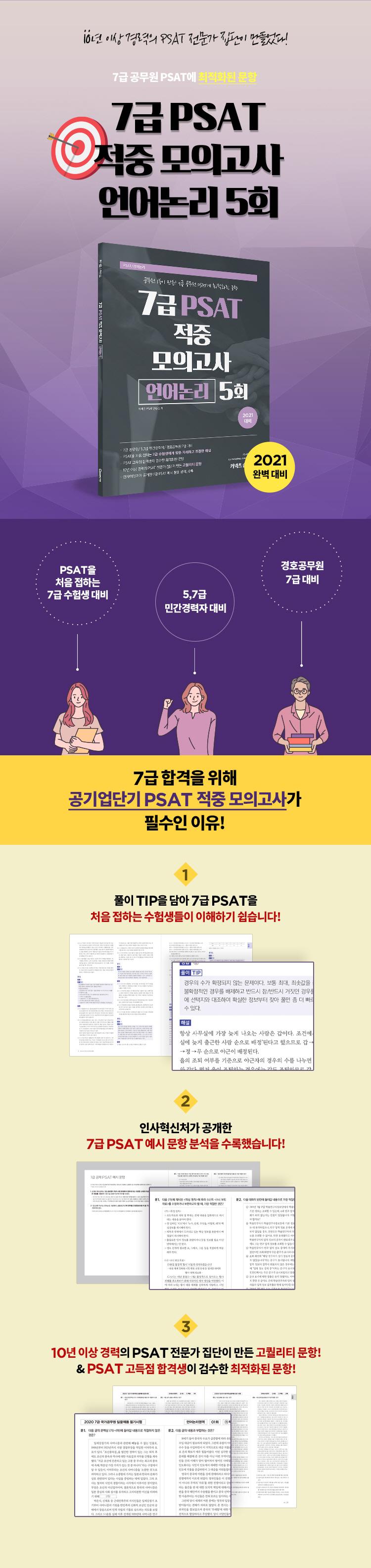 7급 PSAT 적중 모의고사 언어논리 5회(2021)(커넥츠 숨마투스) 도서 상세이미지