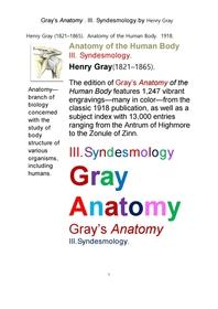 그레이 아나토미의, 제3권 인대학 靭帶學 해부학.Gray's Anatomy . III. Syndesmology ,by Henry Gray