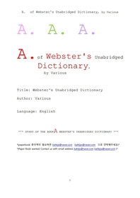 웹스터사전의 A 단어. A. of Webster's Unabridged Dictionary, by Various