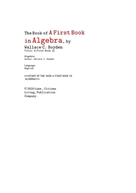 대수학 代數學 의 처음 학습 책. The Book of A First Book in Algebra, by Wallace C. Boyden