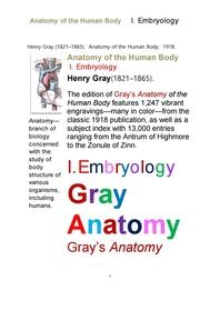 그레이아나토미 해부학 중에서 제1권 발생학.Gray's Anatomy,Anatomy of the Human Body, I. Embryology.b