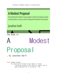 조나단 스위프트의 겸손한 제안.The Book of A Modest Proposal, by Jonathan Swift