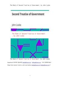 존로크의 통치론의 두번째 논고책.The Book of Second Treatise of Government, by John Locke