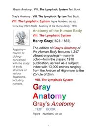 그레이아나토미 해부학의 제8권 림프계 책Gray's Anatomy . VIII. The Lymphatic System Text Book. by Henry Gray
