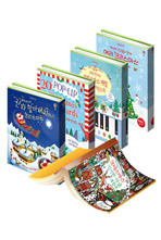 어스본 해피크리스마스 선물세트(마술색칠북/크리스마스 그림책/팝업카드/피아노 사운드북/스티커북)