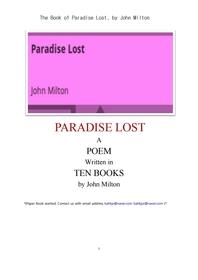 밀턴의 실락원.The Book of Paradise Lost, by John Milton