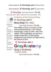 그레이아나토미 해부학의 제9권 3부 신경해부학,신경학. 도해 그림책.Gray's Anatomy . IX. Neurology. part 3. Figure Book ,by Henry Gray