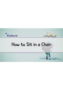 How to Sit in a Chair