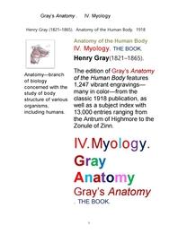 그레이 아나토미의, 제4권 근육학 근학 筋學 해부학. Gray's Anatomy. IV. Myology ,by Henry Gray