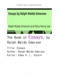 랄프 왈도 에머슨의 에세이집.The Book of Essays by Emerson , by Ralph Waldo Emerson