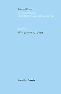Kritische Robert-Walser-Ausgabe (KWA) / Mikrogramme 1924/1925