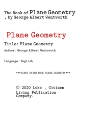 평면기하학 plane geometry 平面幾何學 .The Book of Plane Geometry, by George Albert Wentworth