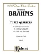 Johannes Brahms Three Quartets, Miniature Score