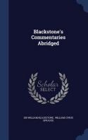 Blackstone's Commentaries Abridged