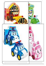 로보카폴리 장난감 그림책 + 자동차 완구 4종 세트 : 폴리, 엠버, 로이, 헬리