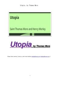 토마스모어의 유토피아 . Utopia, by Thomas More