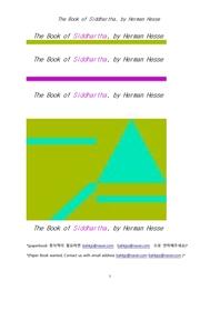 싯다르타.The Book of Siddhartha, by Herman Hesse