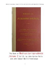 법의학적 법철학 제2권.The Book of Medical Jurisprudence, Volume 2 (of 3), by John Ayrton Paris and J