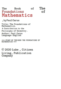 기하학의 철학에 기여하는 수학의 기초 책.The Book of The Foundations of Mathematics,A Contribution to