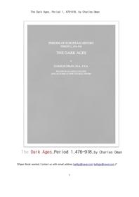 유럽중세시대의 암흑시대,제1기.The Dark Ages, Period 1, 476-918, by Charles Oman