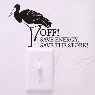황새 (완제품A타입) (멸종동물 스위치스티커) 그래픽스티커 에너지절약 포인트 시트지