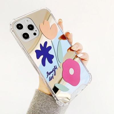 아이폰12 pro max 미니 플라워 미러 투명 젤리 스키니