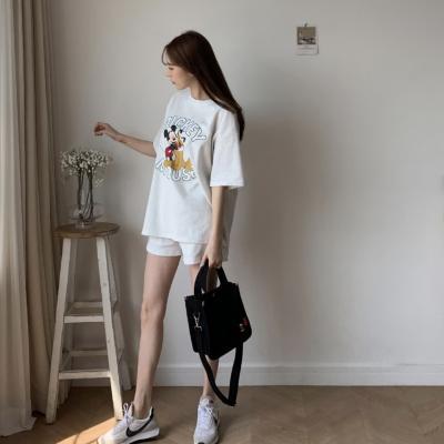 여성 여자 투피스 캐릭터 티셔츠 밴딩 반바지세트