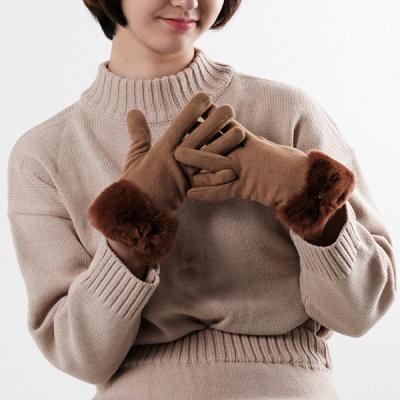 여성 렉스 리본 스마트터치 모직장갑