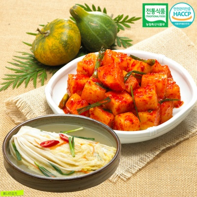 [명가김치] 전통식품인증 깍두기 3kg+백김치 1kg
