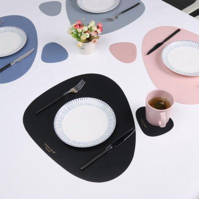 집드리 북유렵 조약돌 가죽 식탁 테이블 매트 방수