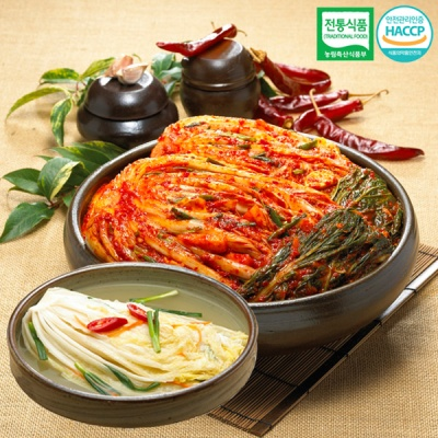 [명가김치] 전통식품인증 포기김치 3kg+백김치 1kg