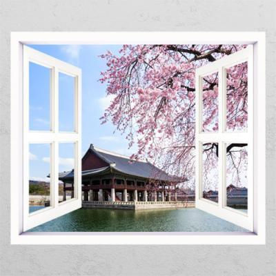 tm592-벚꽃아래경회루_창문그림액자